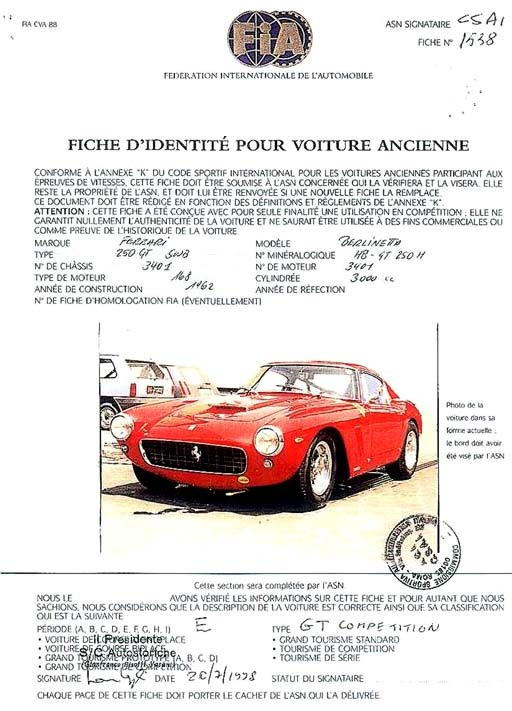 Ketcham Imports For Sale 1962 Ferrari 250 Swb